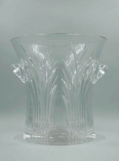 Seau à bouteille en cristal à décor gravé de feuilles de palmiers - Petit éclat...