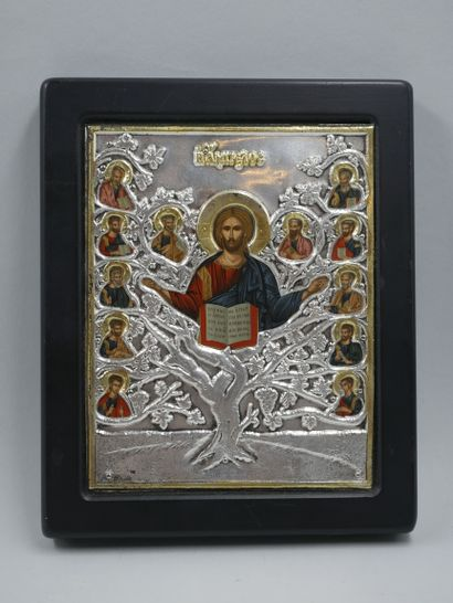 Icône avec rizza en argent et plaqué or, représentant le Christ et ses apôtres,...