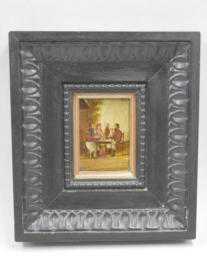 Miniature à l'huile sur panneau représentant trois personnages russes. XIXe siècle....