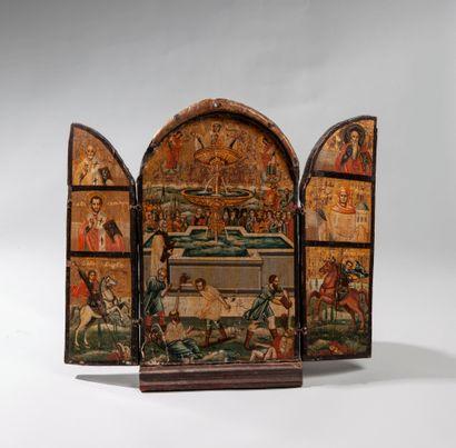 Triptyque représentant Notre Dame de la Source de vie. Le panneau central décrit...