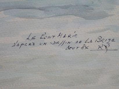 Ecole Française XXe siècle. Le Pont Marie d'après un dessin de la Brize, 1984. Aquarelle...