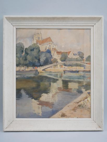 Jean LAFORGUE (1901-1975). Cathedral at the water's edge. Watercolor signed lower...