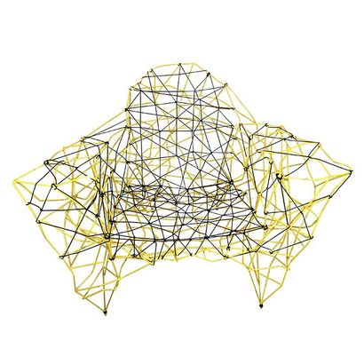 """Gérard COQUELIN known as """"Coco"""". Armchair """"Fil"""". Yellow metal structure and black..."""