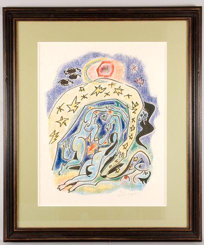 André MASSON (1896-1987). Couple cosmique. Aquatinte en manière de crayons de couleur....