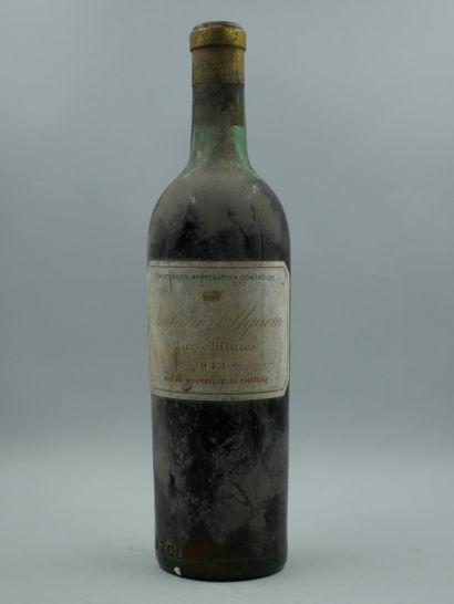 1 Bouteille Château Yquem, Lur Saluces, 1943....