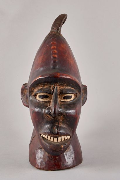 WEST AFRICA - Double face mask in natural wood carved polychrome, red, black and...