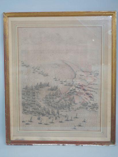 D'après Jacques CALLOT (1592-1635). Le Siège de l île de Ré. Gravure. Noté A. en...