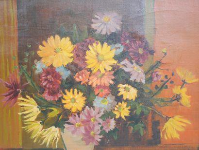 Bernard Daniel NEVEU (1941). Bouquet de chrysanthèmes....