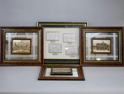 Trois bas-reliefs, vues de Monuments de Rome...