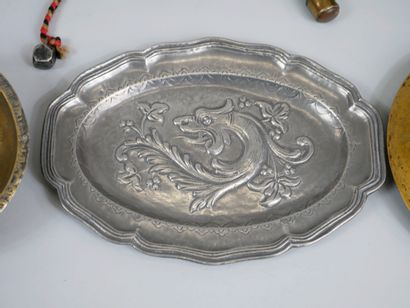 Lot including copper dish, small trays and plates in metal and copper worked with...