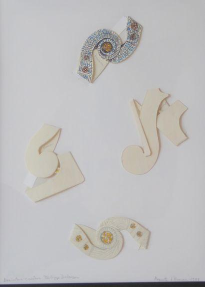 ARMAN (1928-2005). Quatre maquettes en carton...