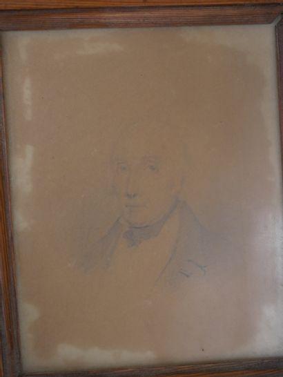 Ecole Française XIXè siècle. Portrait d'homme. Crayon et aquarelle. 15 x 15 cm ...