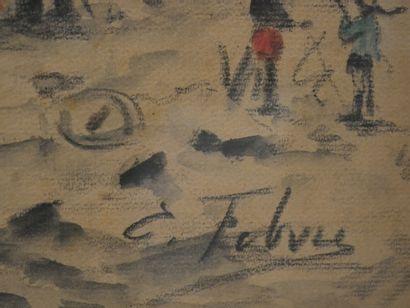 Edouard Febvre (1885-1967). Montmartre, le maquis sous la neige, aquarelle, fusain...