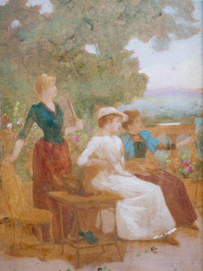Ecole Française XIXè siècle. Elégantes au jardin. Huile sur panneau. 14 x 10cm....