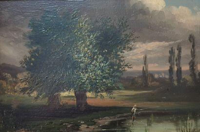 Ecole Française XIXè siècle. Pêcheur. Huile sur panneau. 15,5x22cm. Cadre en bois...