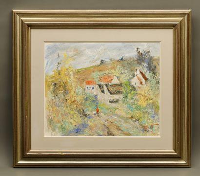 Michel CALVET (né en 1956). Paysage de Provence. Huile sur toile. Signée en bas...