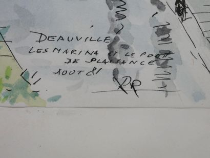 Ecole Française XXè siècle. Deauville, les marinas et le port de plaisance, Août...