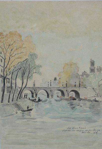 Ecole Française XXè siècle. Le Pont Marie...