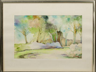Philippe CHOSSON (1919-2011) - Pays de Caux - Aquarelle sur papier - Signé en bas...