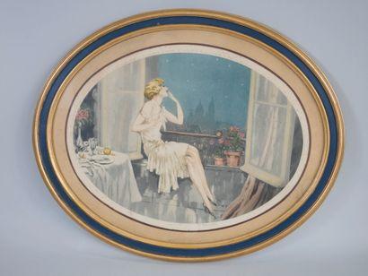 Ecole Française début XXè siècle, Les élégantes à la fenêtre, paire de gravures...