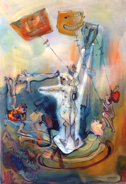 Philippe DELOISON (XXè). Le Clown aux cerfs...
