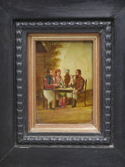 Miniature à l'huile sur panneau représentant trois personnages russes. XIXè siècle....