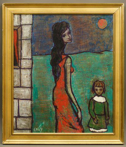 LOVY (XXe). La femme à l'enfant. Acrylique sur toile. Signée en bas à gauche - 55...