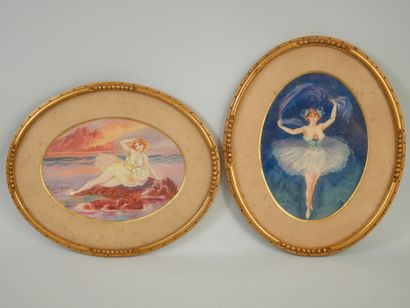 André DESGACHONS (1871-1951). Deux gouaches...