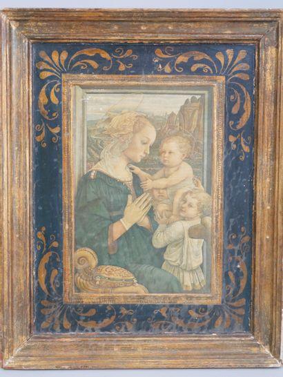 Reproduction d'après Lippi. Vierge à l'enfant. 25,5 x 17cm (hors cadre) / 43 x 34cm...