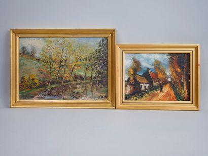 Lot d'encadrés et tableaux, huile sur toile, dessins, gravures, cadres en bois et...