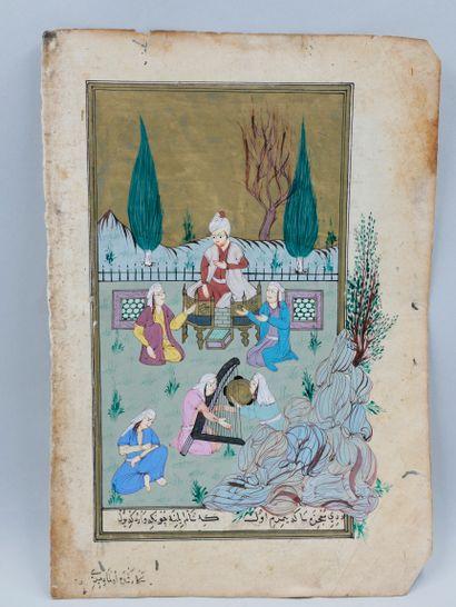 Miniature persane gouachée et calligraphiée,...