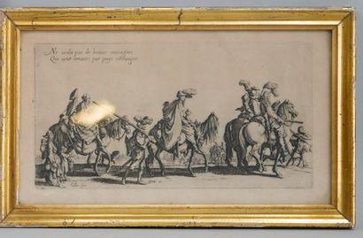 Jacques CALLOT (1592-1635), trois gravures tirées de la série « Les Bohémiens »,...
