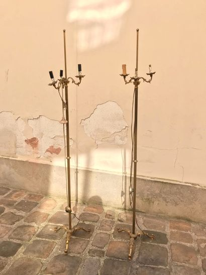 Paire de haut pieds de lampe en bronze doré...