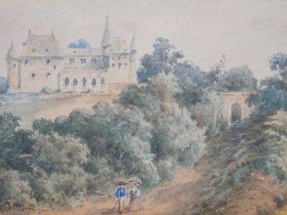 Ecole Française XIXè siècle. Paysage au Château. Aquarelle sur papier, encadrée....