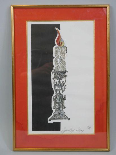 Léon AZOULAY. Bougie. Lithographie signée et numérotée 95/500. 24 x 20 cm (à vu...