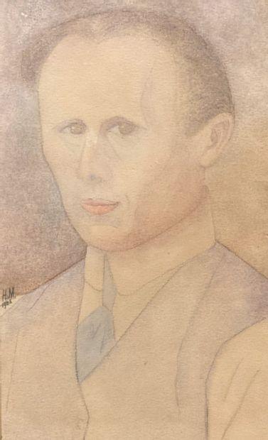 Portrait d'homme à la cravate. Aquarelle...