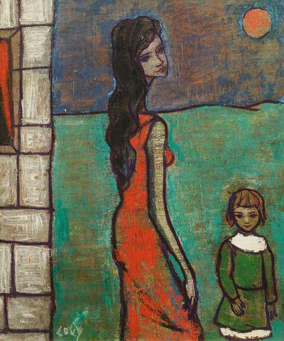 LOVY (XXe). La femme à l'enfant. Acrylique...