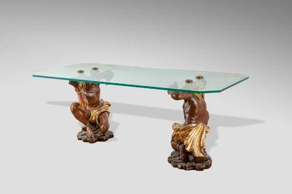 Table basse à plateau en verre rectangulaire...
