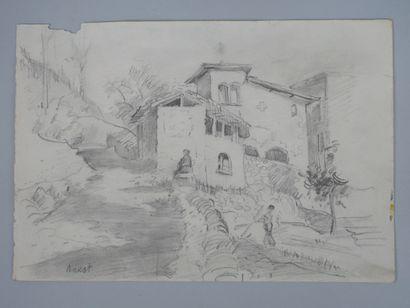 Ecole Russe XXè siècle. Les fermiers. Crayon sur papier. Porte la signature de Léon...