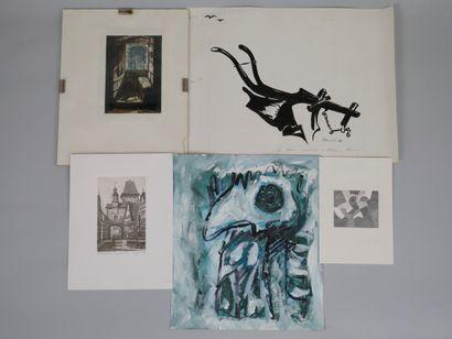 Lot de gravures, dessins, aquarelle et une...
