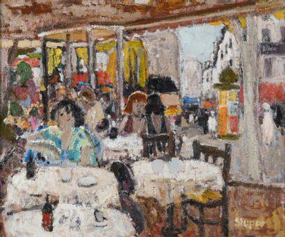 Marko STUPAR (1936-2021). Café à Montparnasse....