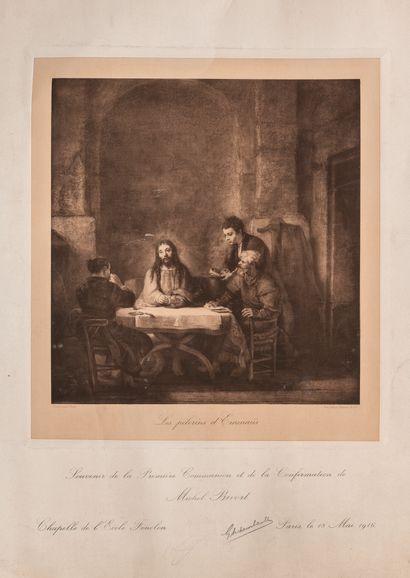 Lot de gravures comprenant une paire représentant des scènes de batailles WATERLOO,...