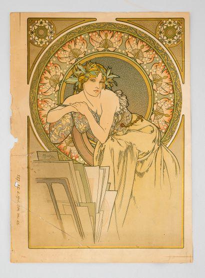 Alphonse MUCHA (1860-1939), Femme aux coquelicots....