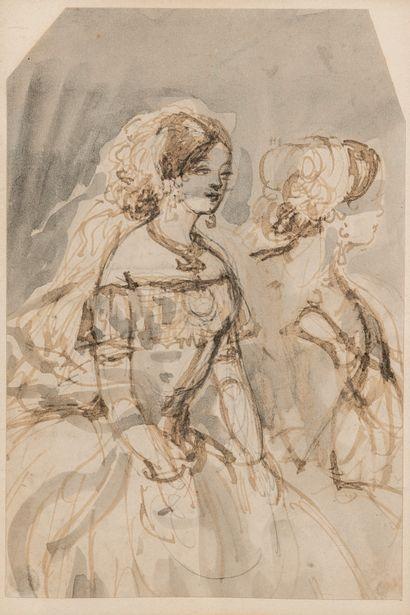 Constantin GUYS (1802/05-1892). Deux élégantes...