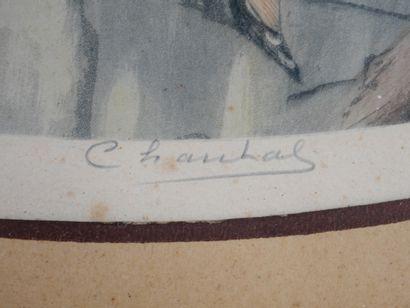 École Française début du XXè siècle. Les élégantes à la fenêtre. Paire de gravures...