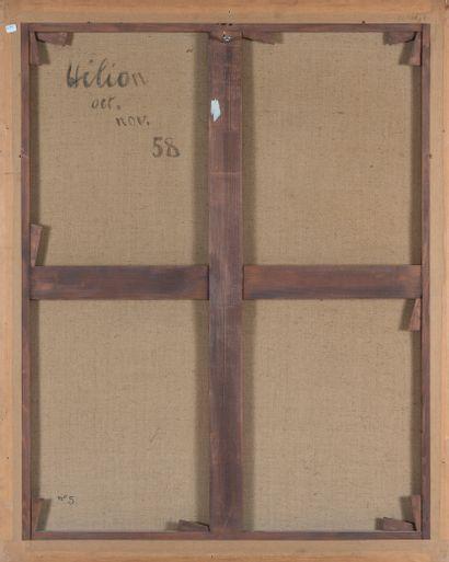Jean HÉLION (1904-1987). Sans titre (les toits), (19)58. Huile sur toile. Monogrammée...