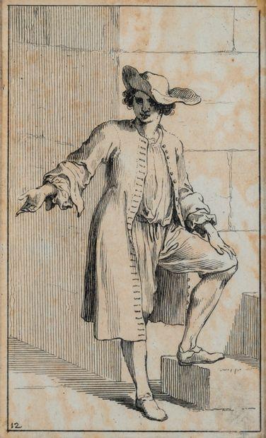 Paire de gravures d'après Sébastien LECLERC (1676-1763). Deux personnages.