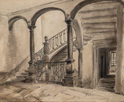 """École française XIXème siècle – 3 dessins d'architecture : 100/150€  - """"Vue du château..."""