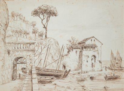 École française XIXè siècle - 2 dessins :  - Vue du faubourg vénitien de Murano...