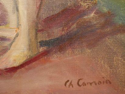 Charles CAMOIN (1879-1965). Femme rousse se coiffant, 1958. Huile sur toile. Signée...